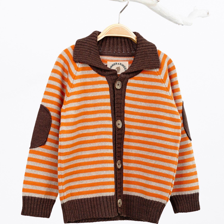 Jacke Kind Merinowolle braun orange_82