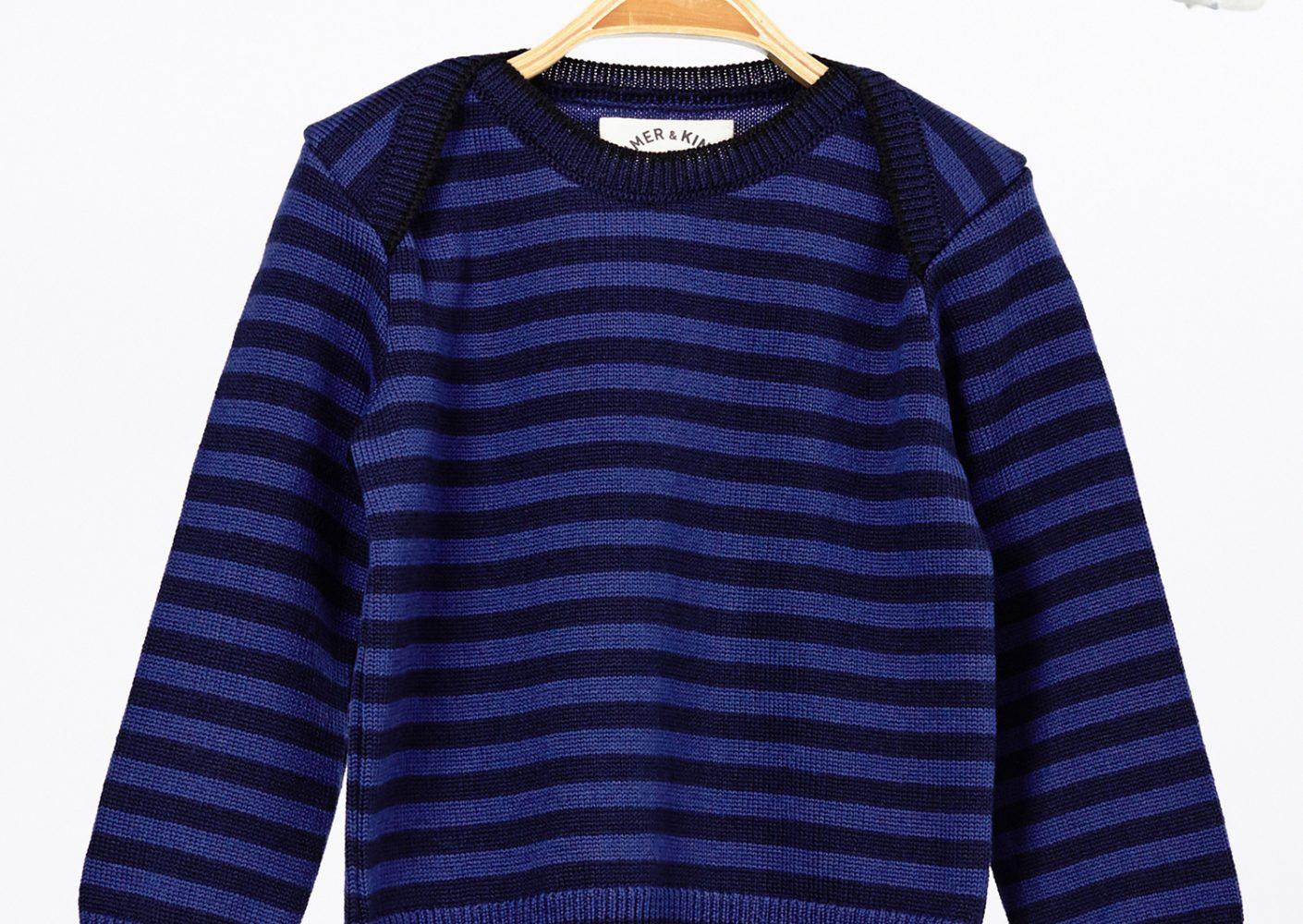 Pullover Kind Merinowolle dunkelblau_42