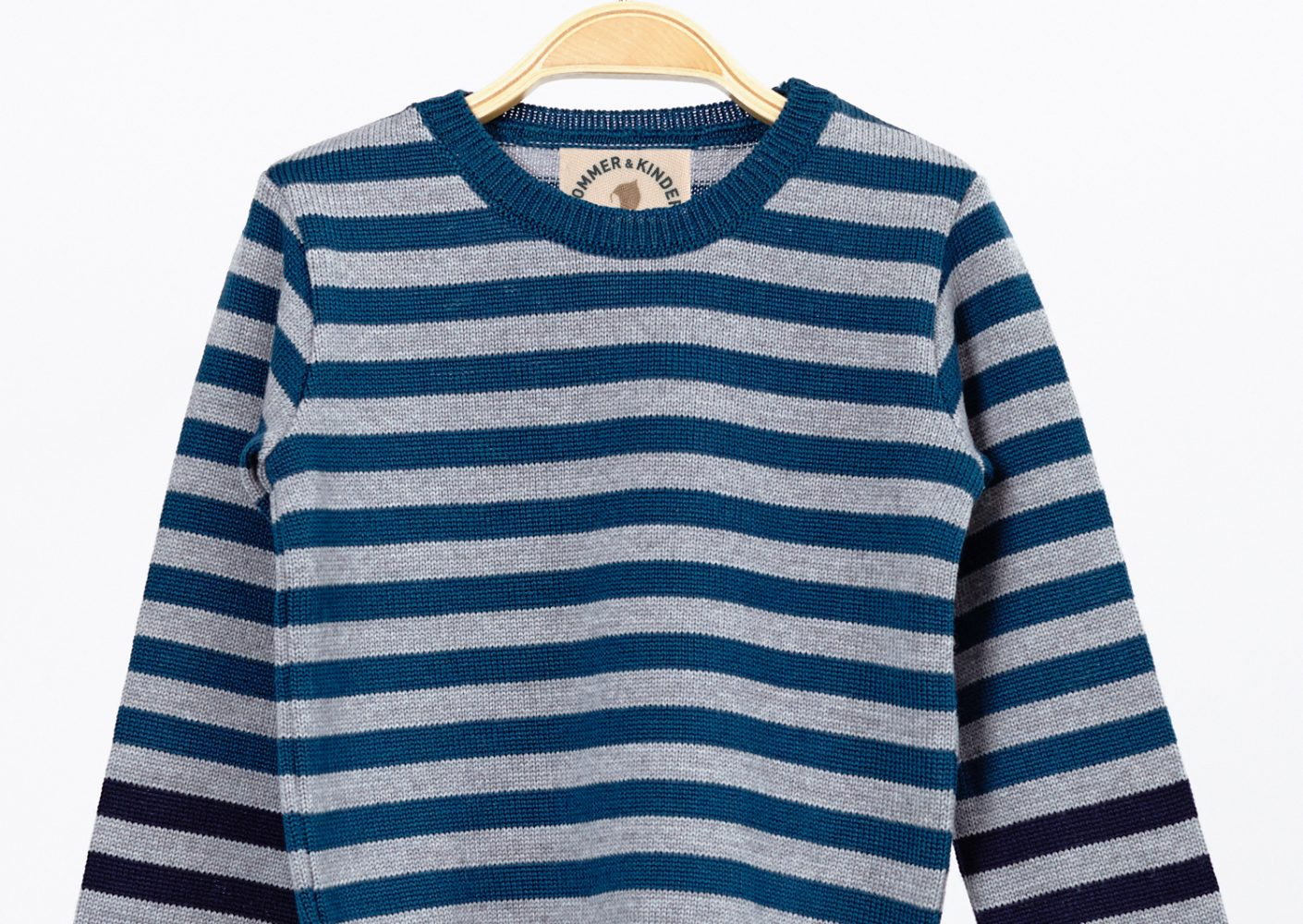 Pullover gestreift Junge Merinowolle blau_64