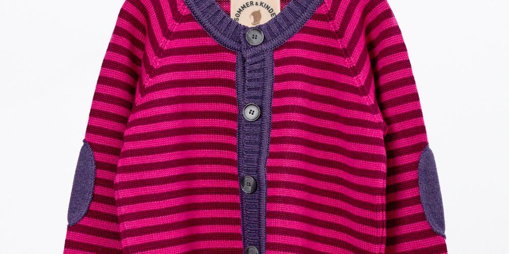 Kinder-Strickjacke lila-pink